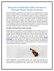 Keep Your Profession Safe and Secure Through Music Studio Coverage.doc