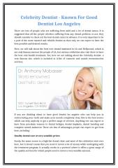 Celebrity Dentist - Known For Good Dentist Los Angeles.docx