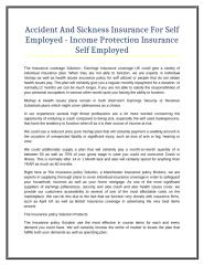 Accident And Sickness Insurance For Self Employed - Income Protection Insurance Self Employed.doc